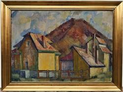 Véső Ágoston (1931 - ) Nagybányai táj 1969 c. festménye 82x62cm EREDETI GARANCIÁVAL !