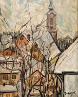 Duray Tibor (1912 - 1988) Szentendre ? c. olajfestménye 56x46cm EREDETI GARANCIÁVAL !