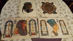4 db, papiruszra festett, szignózott egyiptomi témajú kép! A 4 db együtt 10.000 Ft.