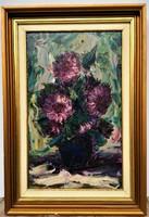 Ismeretlen festő ( lásd szignó) Virágcsendélet c. festménye 62x42cm EREDETI GARANCIÁVAL !