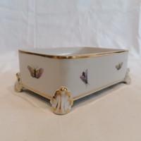 Herendi porcelán szögletes négylábú lepkés bonbonier doboz alj
