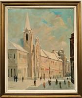 Duray Tibor (1912 - 1988) Városkép c. olajfestménye 80x66cm EREDETI GARANCIÁVAL !