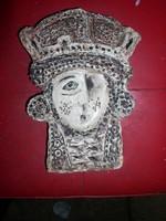 Királynő-fej , -Zománcozott égetett agyag falidombormű, 25 x 18 x 4 cm