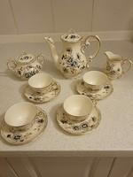 Zsolnay porcelán mokkás búzavirág mintás teás, -kávés készlet 7 db-os szett eladó!