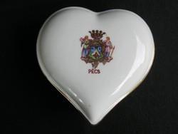Drasche porcelán szív alakú bonbonier PÉCS címer