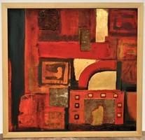 Székács Zoltán (1954 - ) Nagy méretű Vegyes technika festménye 98x95cm EREDETI GARANCIÁVAL !