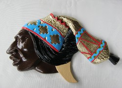 Indián férfi fej fém fali dísz