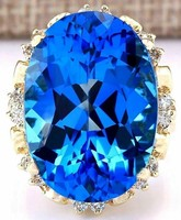 18k arany luxus gyémánt gyűrű 30.50 karát természetes topázzal