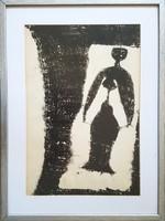 Vinkler László - Nőalak 42 x 28 cm tus, papír keretezve