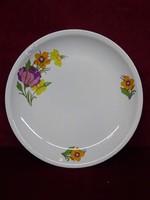 Alföldi porcelán lapostányér sárga/lila virágokkal.