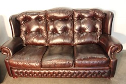 Antik  konyak színű  bőr chesterfield  3-as kanapé