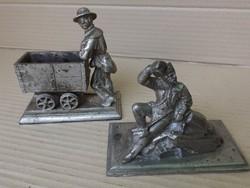 Vasöntöde 1850 Eredeti öntöttvas bányász szobrok 2 db bányászat múzeum i gyűjteményből