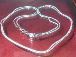 52 cm-es Tömör- Erős 925 ezüst - Fehérarany Dupla szálas uniszex Nyaklánc