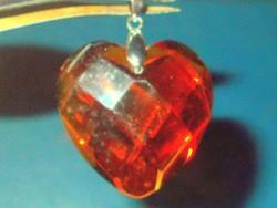 Álomszép! Borostyán fényű Crystallized Swarovski Elements Szív Medál