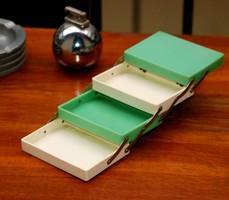 Art deco Futurit (bakelit) cigaretta tartó - kínáló doboz - vaj - mentazöld