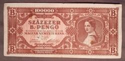 Szép Százezer B.-Pengő 1946. bankjegy
