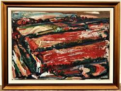 Simon Béla (1910 - 1980) Bíborherés c. Képcsarnokos festménye 100x76cm EREDETI GARANCIÁVAL !!