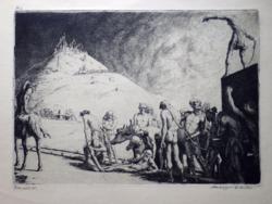 """Medgyesi Schwartz Antal: Piramisépítők. Rézkarc a """"Bibliai jelenetek""""-sor.-ból, 1924, nagyon ritka!"""