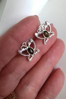 Köves, pillangós ezüst fülbevaló