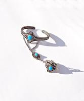 Filigrán, kék köves karperec, kézfej ékszer, és állítható méretű gyűrű