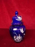 Kobalt kék gyönyörű fedeles váza, 23,5 cm magas.