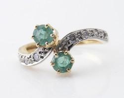 Gyémánt és Emeráld Toi Et Moi art deco arany gyűrű az 1930-as évekből