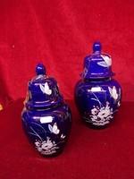 Kobalt kék gyönyörű fedeles váza, 28 cm magas.