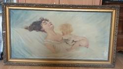 Szoptató anya festmény 113×63