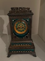 Pénzverdés Antik Ezüst Asztali Óra Drágakövekkel