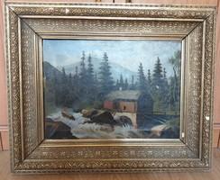 Vízimalom antik tájkép 1897 szignózott
