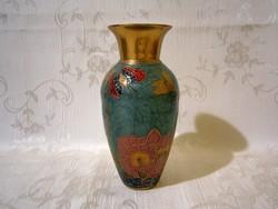 Nagyon szép tűzzománc rekeszzománc (Cloissoné) indiai váza virág és pillangó mintával 13 cm magas