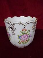 Hollóházi porcelán kaspó, gyönyörű, vitrin minőség, 15 cm magas.