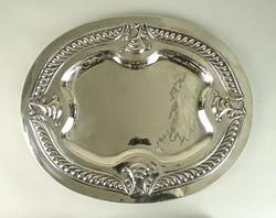 0W026 Régi ezüst tálca pecsenyés tál 1065g
