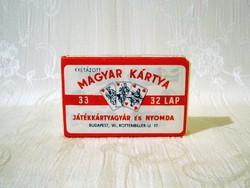 Krétázott mini magyar kártya eredeti bontatlan csomagolásban Játékkártyagyár és Nyomda 1950-es évek