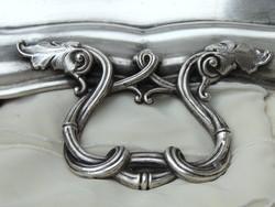Hatalmas antik ezüstözött tálca