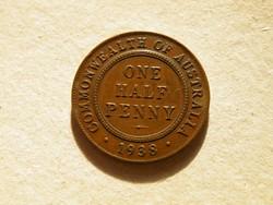 KK523 1938 fél penny Ausztrália szép bronz érme