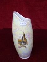 Hollóházi eozinmázas porcelán váza, Sopron felirattal és látképpel, 20,5 cm magas.