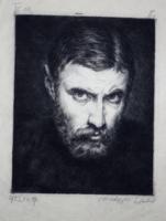 """Medgyesi Schwartz Antal (1897–1978): Önarckép (""""Hadifogoly""""). Rézkarc, 1923, rendkívül ritka!"""