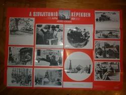 Régi nagyméretű szocialista propaganda  plakát szovjetúnió képekben
