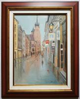 """Zoltai Attila """"Séta eső után (Krakkó)"""" c. keretezett olajfestmény ingyenes házhoz szállítással"""