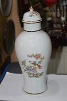 Hollóházi porcelán fedeles váza