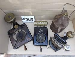 Antik petróleum tűzhely vasaló melegítő kályha 3db gyűjteményből vas öntöttvas