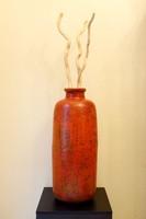 Hatalmas Padlóváza 66cm Retro Kerámia Narancs Sárga Váza Loft Vintage