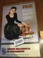 Falinaptár - Retro - 1989 - Szeged Szalámigyár és Húskombinát Pick