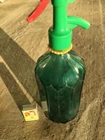Szódásüveg Régi Zöld - Kék Szódás Ritka Üveg feliratos - egy liretes