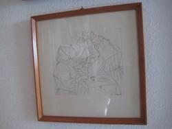 Tihanyi Piroska /1911-1994  /  tusrajz  : A műtét  34x34 cm és 28x41 cm kerettel
