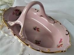 RGK Bohemia Leander 1946 asztalközép, kínáló, rózsaszín, pink