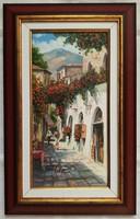 """V. Tóth Gábor """"Mediterrán utca"""" c. olajfestmény szép keretben ingyenes házhoz szállítással"""