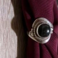Gyönyörű Ónix Köves Sterling Ezüst Gyűrű