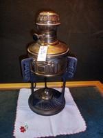 M26 szecessziós ö.vas ,réztartályos petróleum lámpa